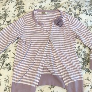 Purple Striped Cardigan